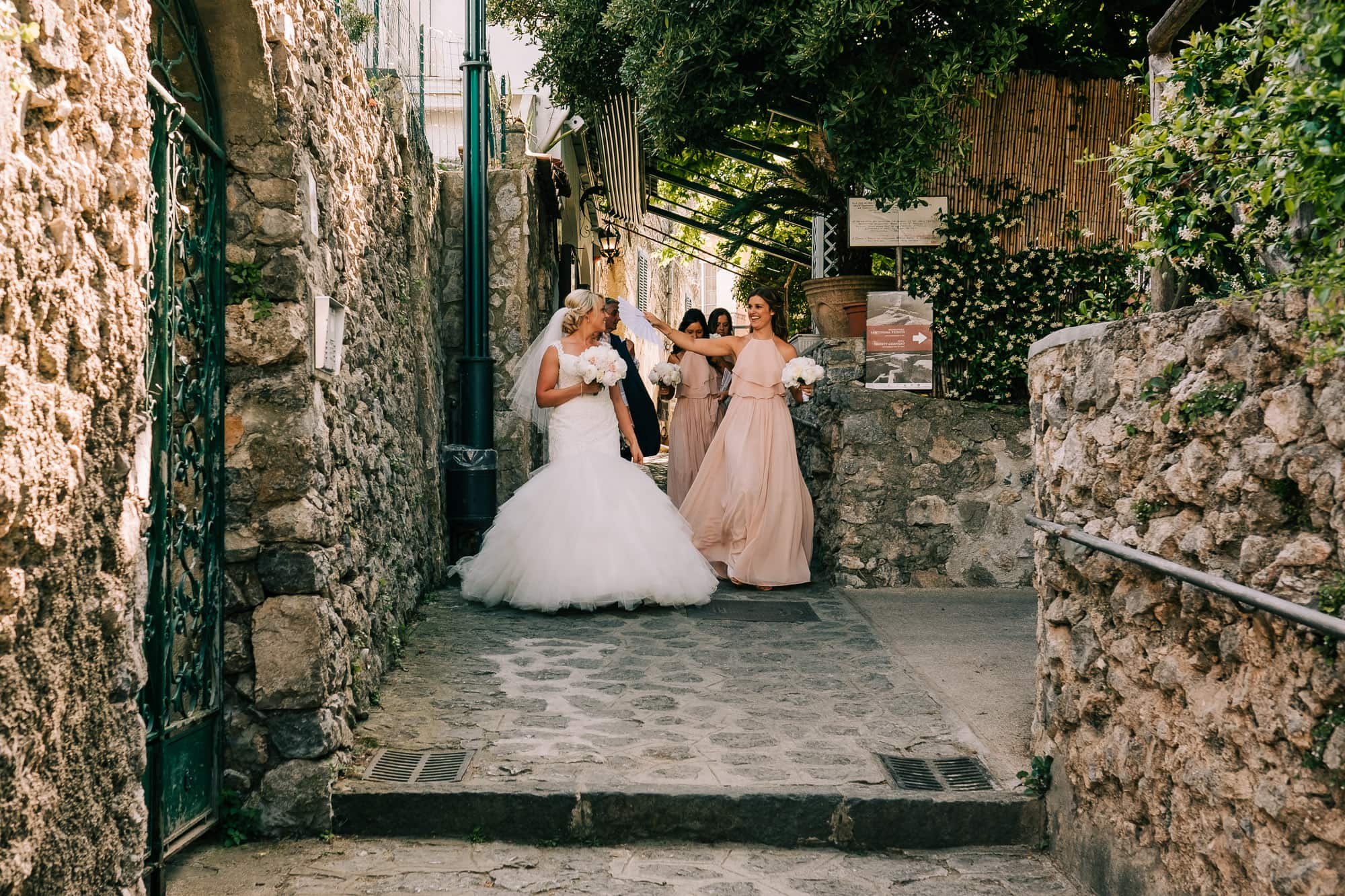 Bride walking through the streets of Ravello