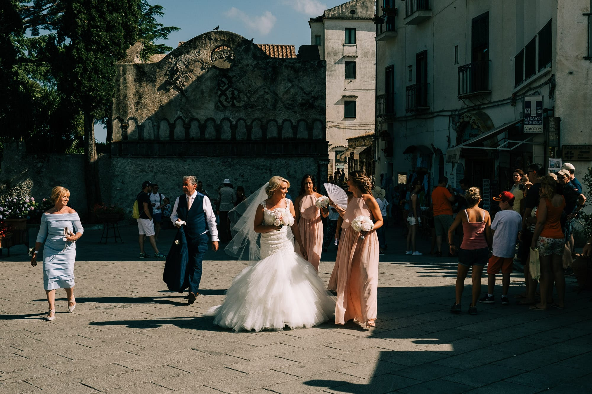 Bridal party in Ravello square