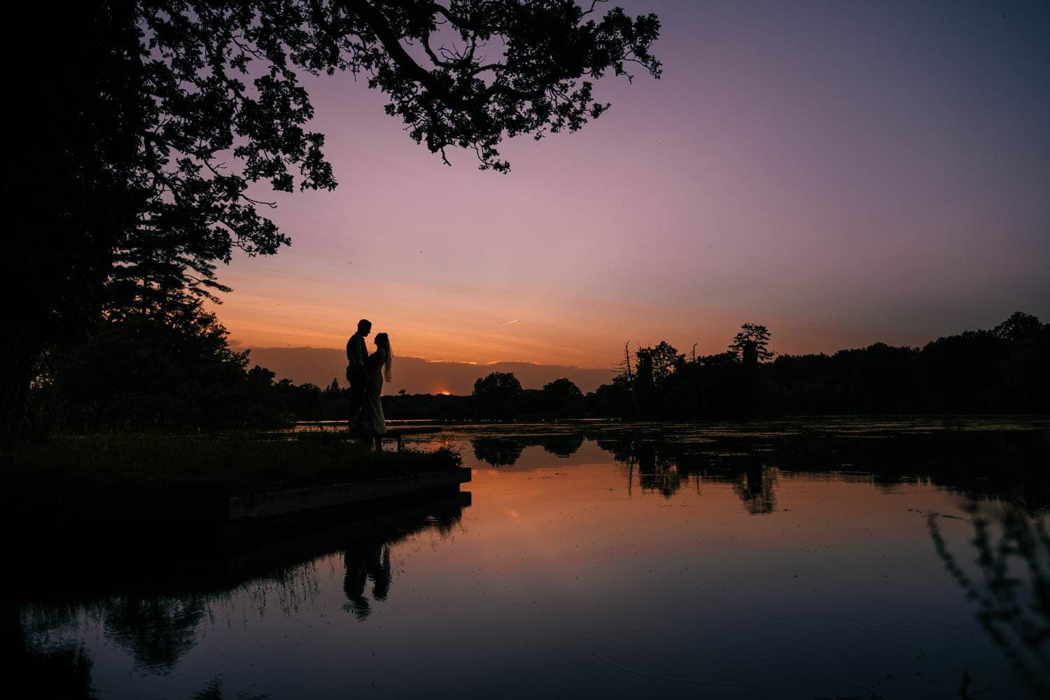 Beautiful sunset at Stradsett Hall Wedding Venue
