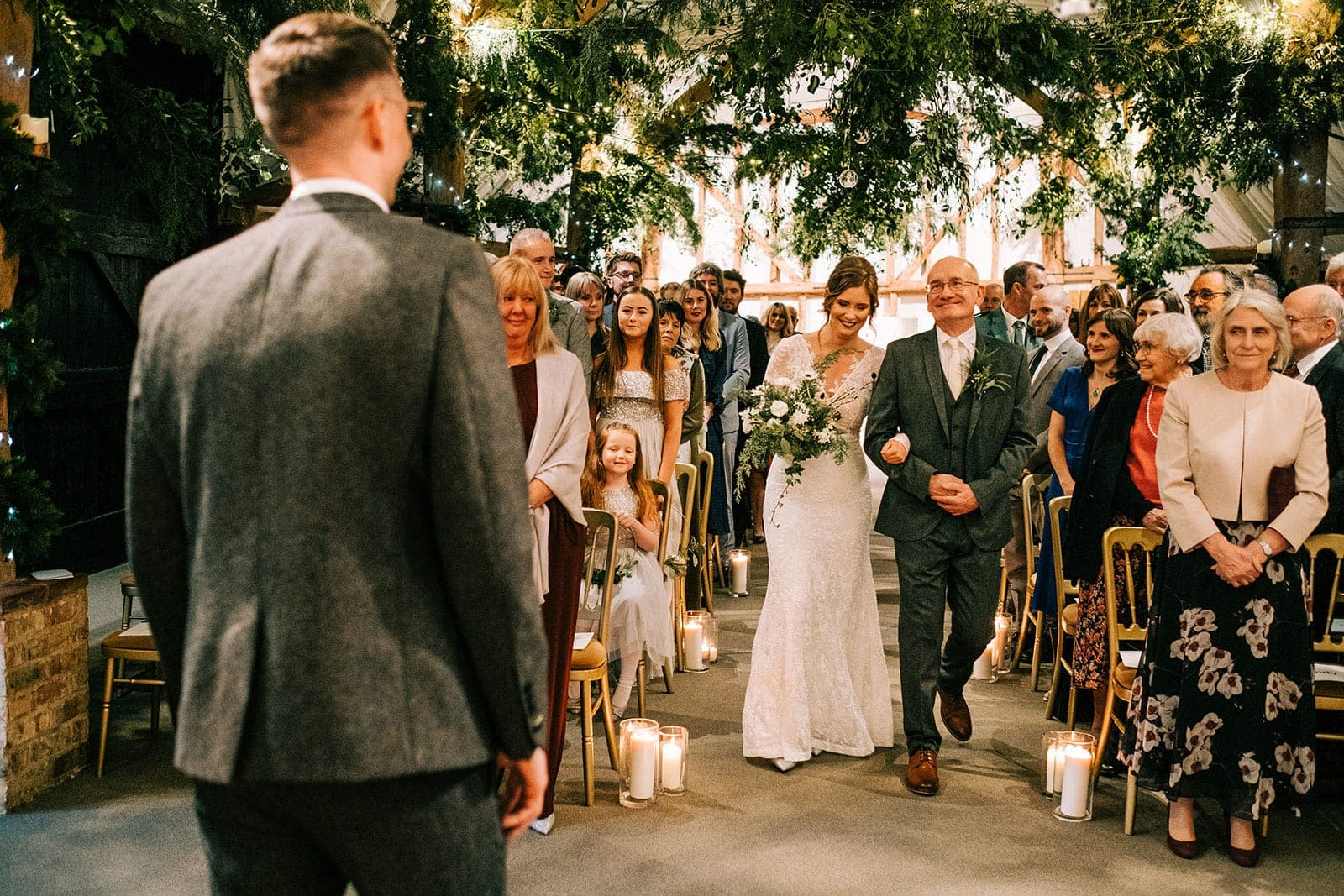 Louise and her dad walking down the aisle