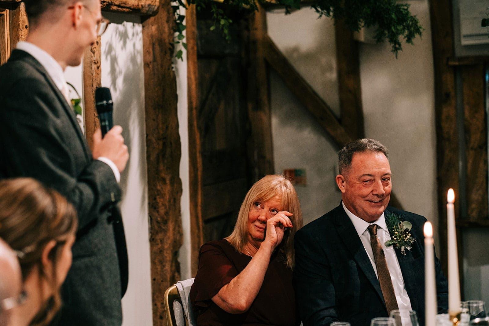 Steve's mum gets emotional during his speech