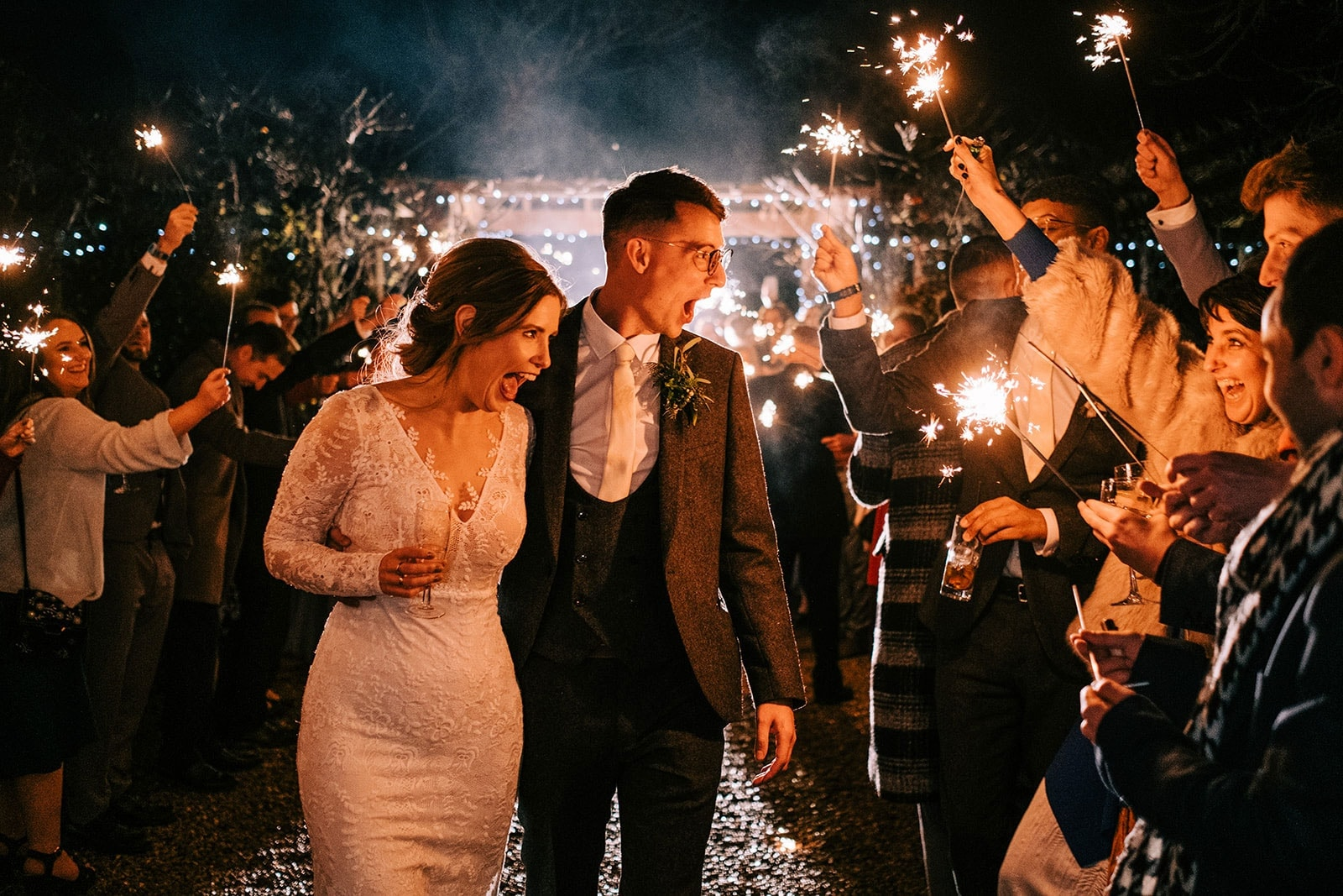 Louise and Steve make their sparkler exit
