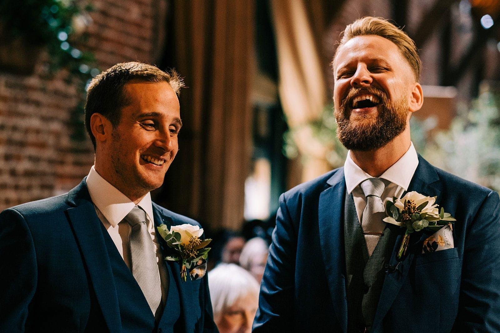 Jack and his best man laughing before the ceremony