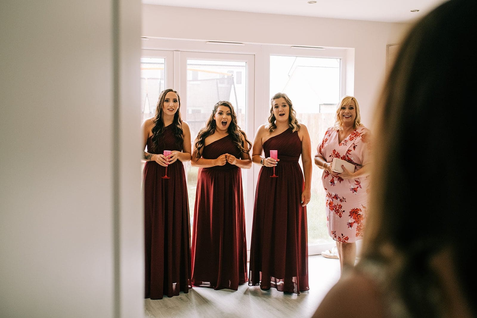 Yasmin's bridesmaids react to her in her dress for the first time