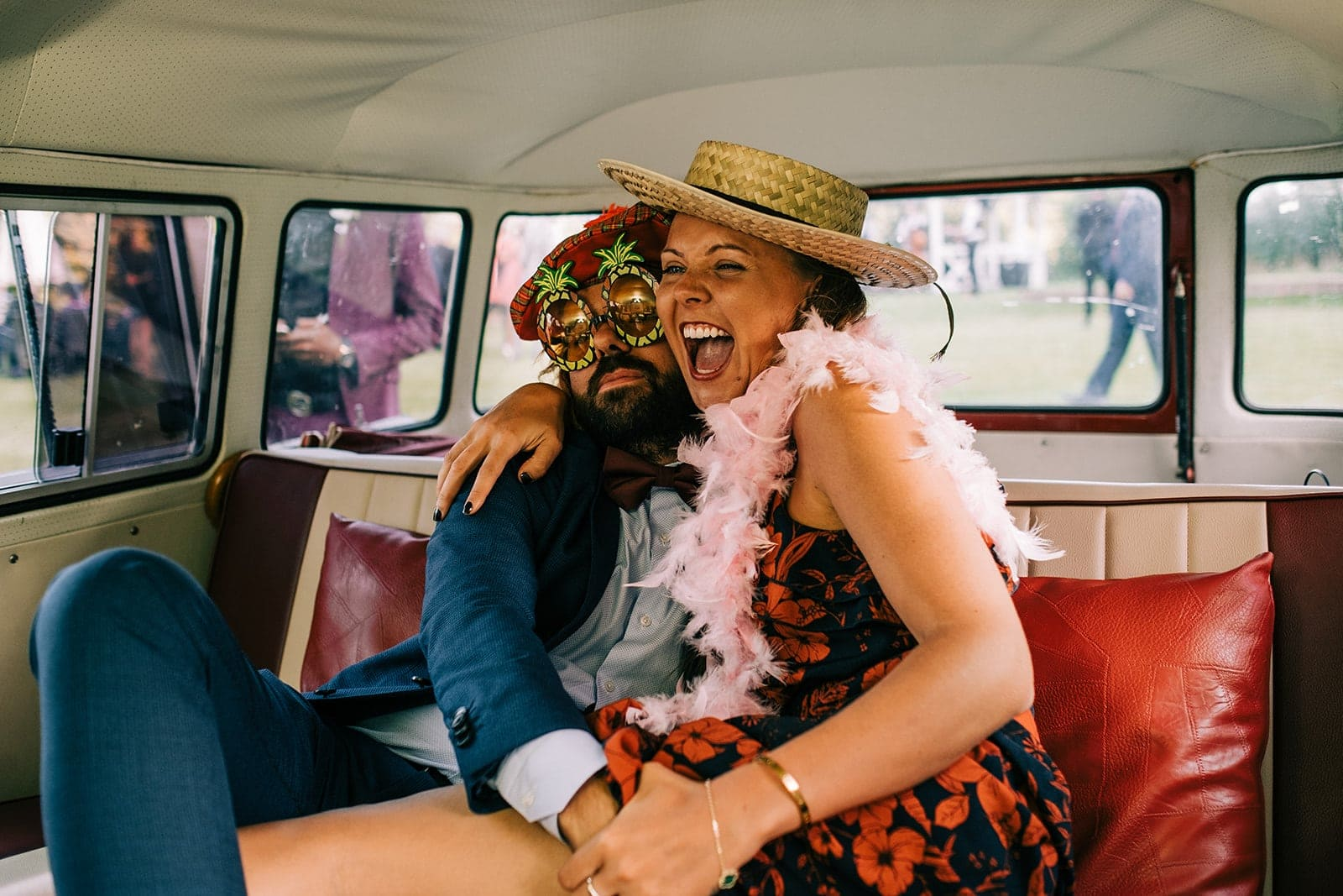 Guests having fun in the Camper Van photobooth