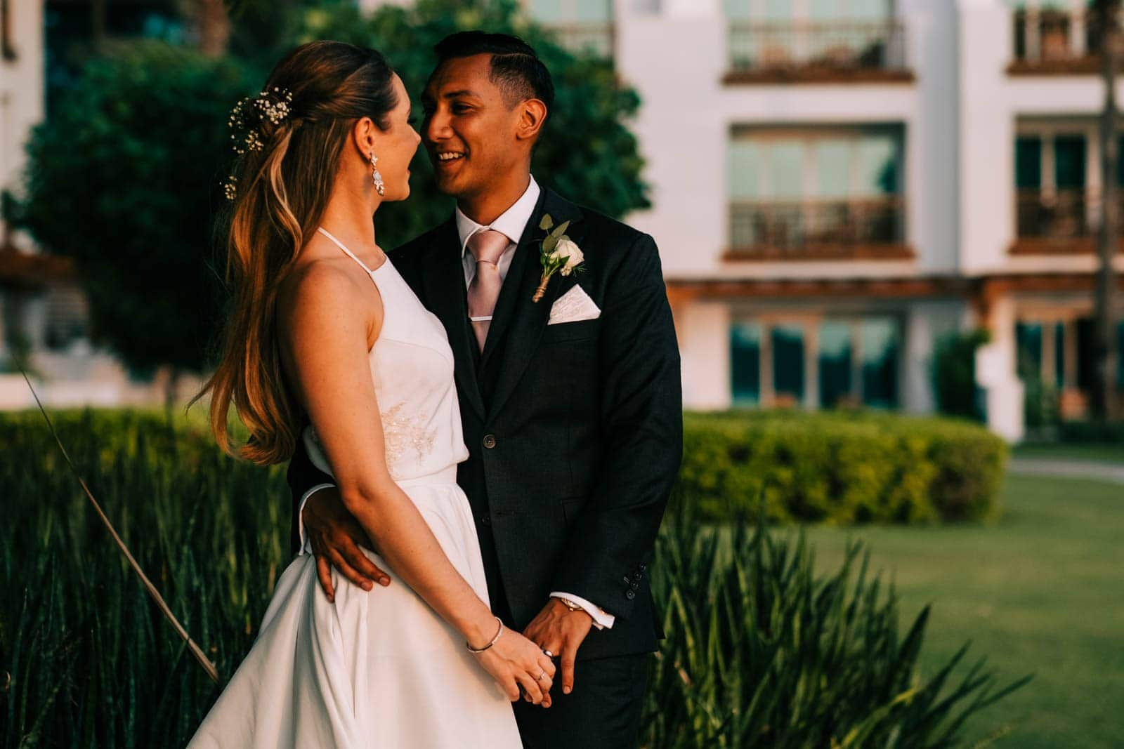 Bride and groom share a moment together at Park Hyatt Dubai