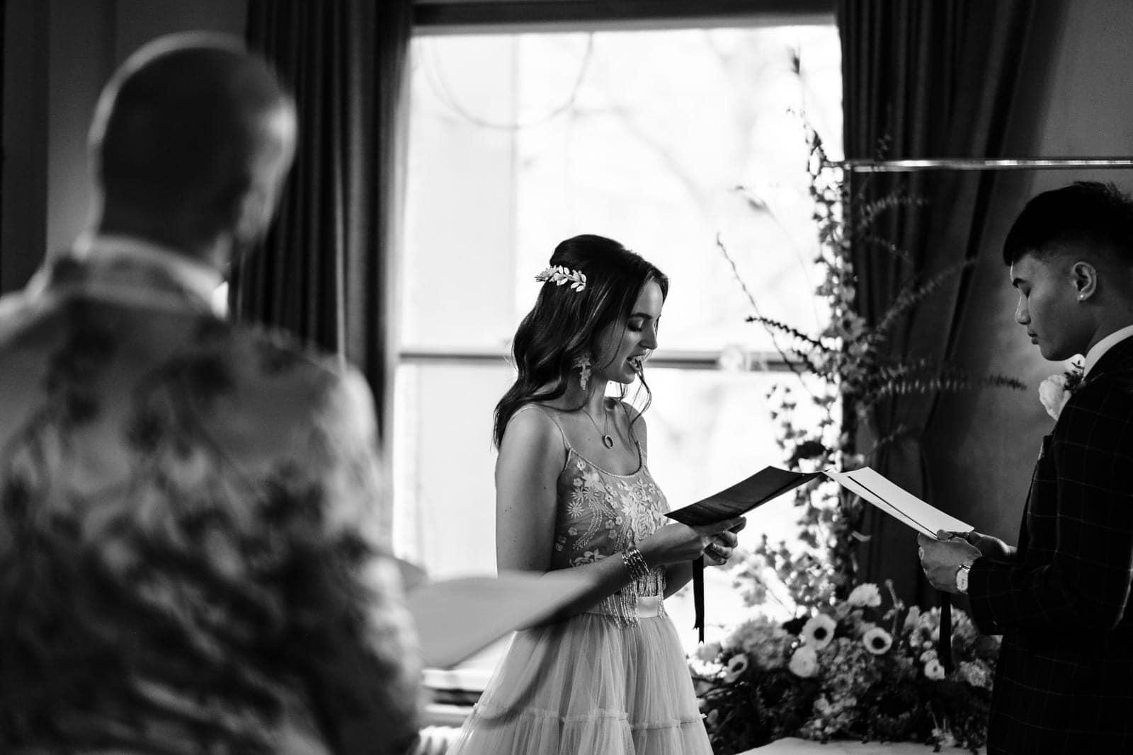 Bride says her wedding vows