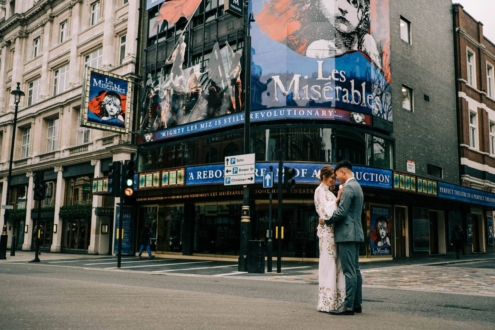 Bride and groom in Soho