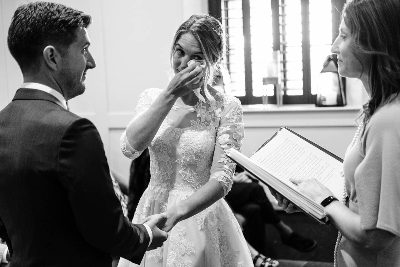 Bride cries during the ceremony